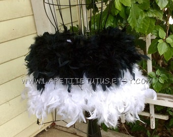 black white feather tutu, feather dress, costume, dress up, feathers, tutu, tulle tutu, flower girl, flower girl dress, wedding, baptism