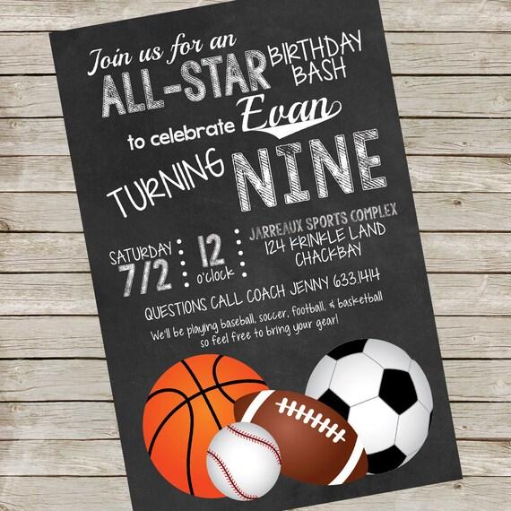 Sports Birthday Party Invitation Piy File Printable