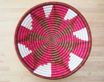 African Basket // Rwanda Basket // Woven Basket // Sisal & Sweetgrass // Cranberry, Brown, White, Brick