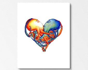 OCTOPUS HEART - Art Print - Octopuses, wedding, anniversary, gift, octopi, illustration, nautical, heart art, home decor, nursery art