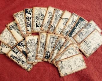 LARGE Antiqued Tarot Card Deck, SEPIA tone, 22 Major Arcana Set