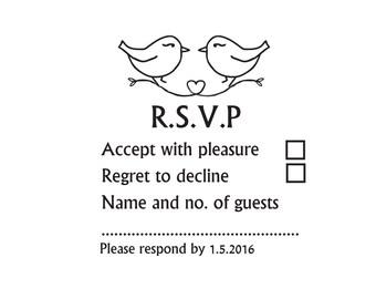 RSVP stamp, wedding rsvp, Custom Wedding Stamp, rsvp card stamp Love Birds