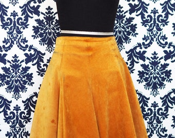1970's Yellow Suede Mini Skirt sz S