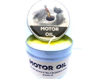Motor Oil  4oz Soy Candle Tin - Great Gift for Men Approximate Burn Time 30 Hours