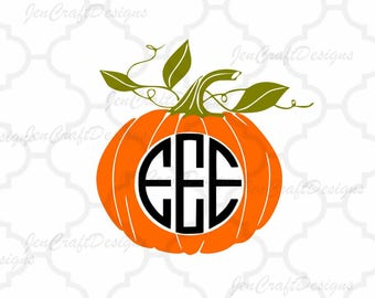 Pumpkin Monogram Frame SVG, Halloween Designs, SVG Files, Vector Art, Cricut Design Space, Silhouette Studio, Digital Cut   Files