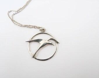 Ola Gorie silver seagull pendant necklace