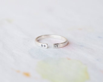 Do It Sterling Silver Motivational Ring, Can Be Personalised. Custom Ring. Stamped Ring. Everyday Jewellery