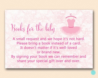 Ballerina Books for the Baby, Books for the Baby Insert, Books for the Baby, Bring a book instead of card , Books for Baby TLC478