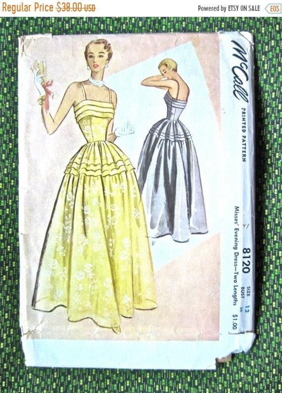 SALE 20% OFF Vintage 1950s Evening Gown Vintage Sewing Pattern