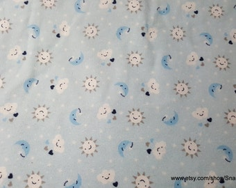 Flannel Fabric - Sun Cloud Stars Moon - By the yard - 100% Cotton Flannel