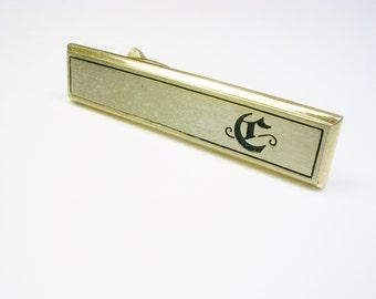Vintage Initial Tie Clip / Tie Bar / Tie Accessory / Initial Monogram c / HICKOK USA / Formal Wear Wedding Gift Groom Best Man Tie Clasp