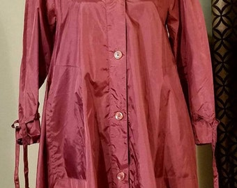 Vintage 1980's Aqua-Sheen and Saks Fifth Ave Tented Raincoat. Size XS