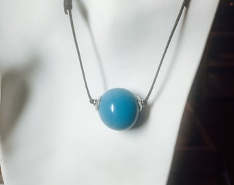 Large Turquoise Glass Bead on Two Knot Cord