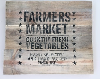 Reclaimed, rustic wood Farmers Market sign