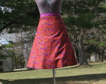 Wrap Skirt Reversible  Colorful Zig Zag with Purple