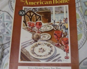 Thanksgiving Table, The American Home Cover, November 1931, Vintage Magazine Cover