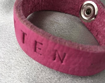 So cute personalized, genuine leather bracelet
