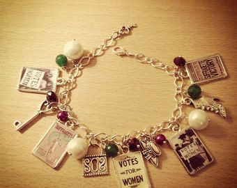 Vintage Votes For Women/ Suffragette Charm Bracelet. Handmade, Unique (FREE or LOW COST shipping)