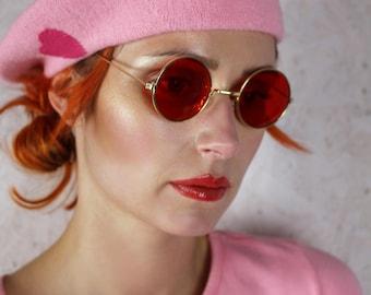 60's 70's round red lense John Lennon sunglasses with gold frames hippie