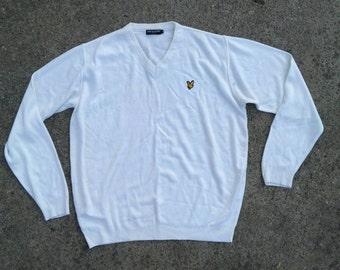 Vtg Lyle and Scott sweater / 90s 80s old retro school nike / tommy hilfiger windbreaker Ralph Lauren polo shirt jacket pullover V nack / XL