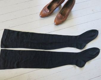 Antique Edwardian Victorian stockings Black Mourning