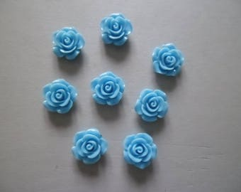 5 beautiful blue roses cameos from resin 14 x 6 mm