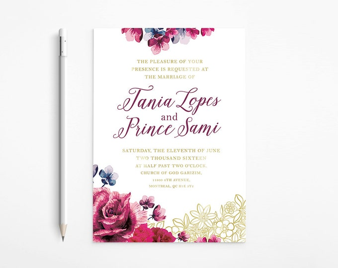 PRINTABLE - Chic Gold Floral Wedding Invitation - Lace - Raspberry - Purple - Pink - Flowers - Classical - Roses - Free changes