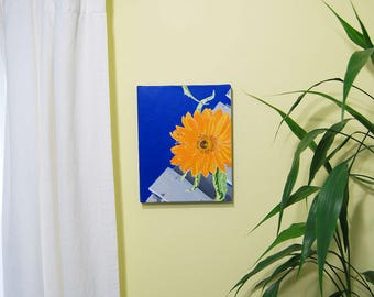 Sunflower, summer, flowers, acrylic painting on stretched canvas