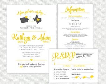State Love Wedding Invitation Suite - Printable