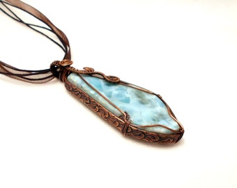 Larimar slab pendant, larimar copper pendant, blue brown pendant, gemstone pendant, textured wire pendant, rustic pendant, gift for her