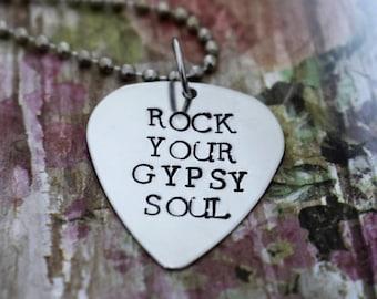 Rock Your Gypsy Soul *Hand Stamped* Guitar Pick Necklace - Van Morrison Lyric