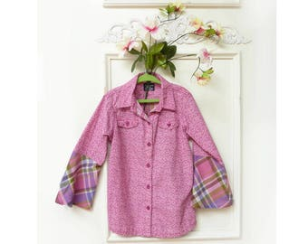Girls shirt, size 6, bell sleeves, pink purple plaid, calico print, Boho top, upcycled, FREE SHIPPING, Childrens clothing, organic cotton