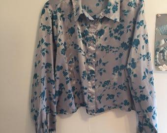 Vintage Silver Silk Floral Blouse