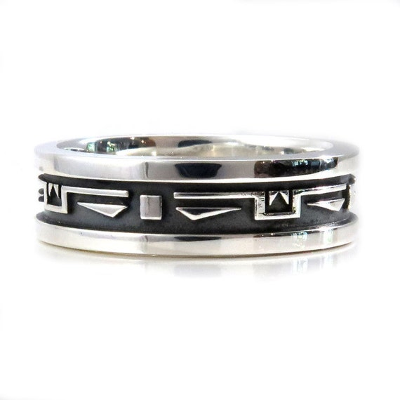 Mens Southwest Art Deco Silver Wedding Ring - Handmade Sterling Band