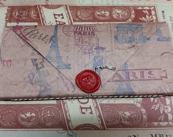 Booklover's Paper Wallet - Paris Theme - 14 pockets Folder Organizer