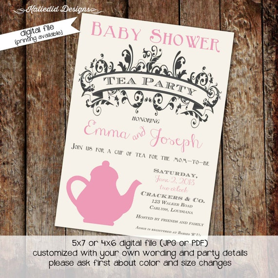 tea party birthday invitation couples baby shower coed sprinkle sip see books brunch once upon a time happily ever after | 1438 Katiedid