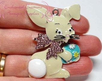 48mm Bunny Rhinestone Pendant, Easter Bunny Pendant, Chunky Necklace Pendant, Bling Pendant, Keychain, Zipper Pull, Jewelry Pendant, Sparkle