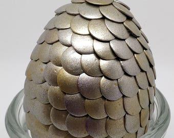 Silver & Gold steampunk dragon egg