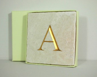 Hand Carved Gold Letter 'A' in Stone Wall Tile.  Personalised Gift.  Letter Carving. Wall Hanging. Decorative Arts