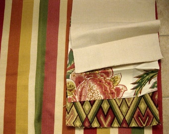 Reduced Sale Remo Stripe Lee Jofa Ribbon Like Upholstery Designer Fabric Sample Red Yellow Green