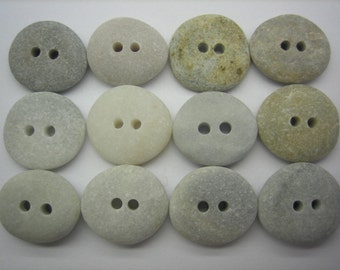 BEACH SEA STONE 17mm Buttons 12 Double Drilled Khaki Grey Cream Natural Stones Real Surf Tumbled Sewing Knitting Rock Button  Peb 1086b