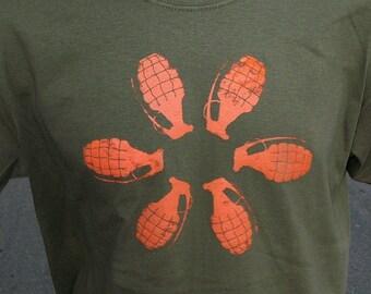Mens GRENADE FLOWER tshirt -  Army Green safetythird tshirt with orange Short Sleeve mens tshirt S - XL explosions
