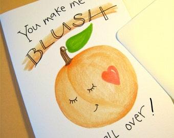 Cute Valentine Card - Husband, Boyfriend Card - Romantic Love Card - Dating Card - You Make Me Blush