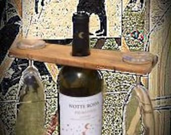 Wooden grotto for bottle and goblets-rustic style-modern Design-wine lovers