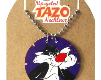 """Sylvester the Cat Up-cycled Tazo necklace on 30"""" dog tag chain What's Up Doc?"""