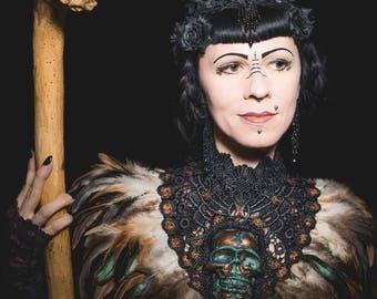 Pagan Bronze rust Skull Feather collar / Patina Resin Totenschädel Kragen mit Federborte MADE TO ORDER