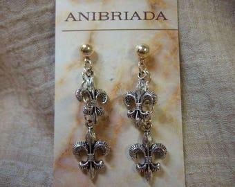 Double Delicate Fleur-de-Lis Dangle Earrings
