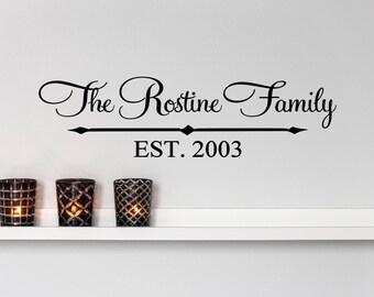 Custom Family Last Name Arrow Vinyl Decal - Family Vinyl Wall Art Decal, Family Name Vinyl, Personalized Vinyl, Home Decor, Custom, 36x9.7