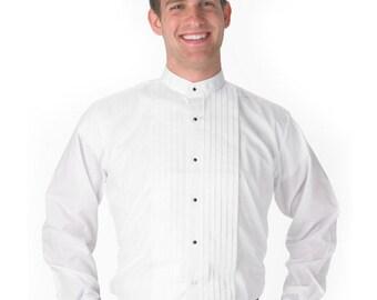 Mens Banded-Collar White Tuxedo Shirt