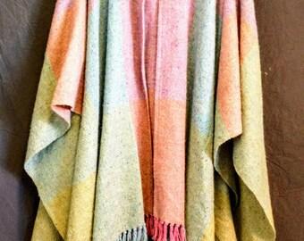 Handwoven Poncho Cape Ireland S/M/L/XL Studio Donegal 100% wool brights big plaid fringe wrap